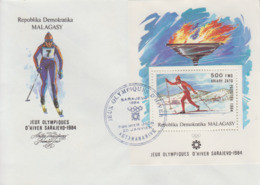 Enveloppe  FDC  1er  Jour   MADAGASCAR    Bloc   Feuillet   Jeux   Olympiques   SARAJEVO   1984 - Winter 1984: Sarajevo