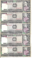 BOLIVIE 1000 PESOS BOLIVIANOS  D1982 VF P 167 ( 5 Prefixes Diff ) 5 Billets - Bolivia