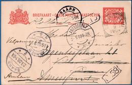 Dutch Indies 1909 5 Ct Postal Stat. Card From Souka-Boemi By Baarn & Amersfoort To Arnehm, 2010.2006 - Indie Olandesi