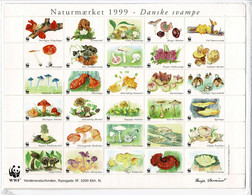 Denmark WWF 1999.  Sheet  With 30 Labels And Puzzle (25 Pcs.);  Danish Mushrooms. - Non Classificati