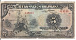 BOLIVIE 5 BOLIVIANOS 1911 VG+ P 106 - Bolivia