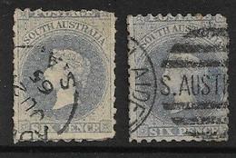 SOUTH AUSTRALIA 1864 6d DULL ULTRAMARINE , 1865 6d DULL BLUE SG 30,32 FINE USED Cat £12.25 - Usados