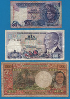 LOT BILLETS 3 BANKNOTES MALAYSIA - TURKEY - FRANCE OUTRE-MER - Kiloware - Banknoten