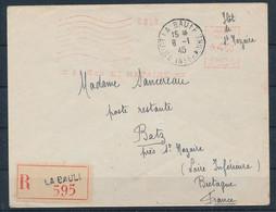 DS-459: FRANCE: POCHE DE ST NAZAIRE Courrier Rec Du 8/1/45  1er Jour De L'empreinte De Machine (La Baule) - Kriegsausgaben