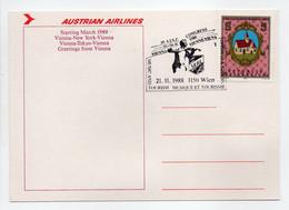 - Carte Postale VIENNE 21.11.1988 - MUSIQUE ET TOURISME - AUSTRIAN AIRLINES - - 1981-90 Storia Postale