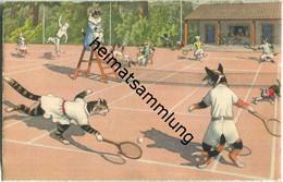 Vermenschlichte Katzen - Tennis - No. 4743 Edition Max Künzli Zürich 6 - Gatos