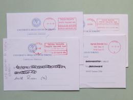 Agenzia Recapito Autorizzato Defendini Torino, Su Cartolina Postale Università, 4 Affranc. Mecc. Diverse, Ema, Meter (20 - Affrancature Meccaniche Rosse (EMA)