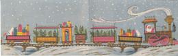 CPA CELEBRATIONS, CHRISTMAS, SANTA CLAUS, TRAIN, RABBIT, TREES, GIFTS, 2 PARTS FOLDED - Santa Claus