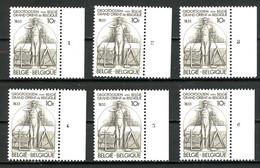 BE  2066  XX   ----  Francs-Maçons  --  N° De Planche 1 à 6 - Plate Numbers