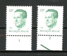 BE  2113  XX   ----  Roi Baudouin Type Velghe  --  N° De Planche 1 Et 2  --  Papier P5 - Plate Numbers