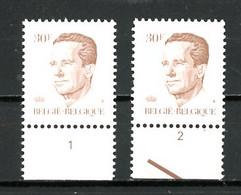 BE  2126  XX   ----  Roi Baudouin Type Velghe  --  N° De Planche 1 Et 2  --  Papier P5 - Plate Numbers