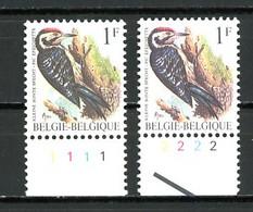 BE  2349  XX   ----  Buzin : Pic épeichette  --  N° De Planche 1 Et 2  --  Papier P6a - Plate Numbers