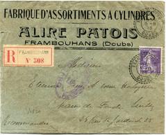 FRANCE LETTRE RECOMMANDEE CENSUREE DEPART FRAMBOUHANS 9-8-16 DOUBS POUR LA SUISSE - 1906-38 Sower - Cameo