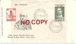 Ronchi Dei Legionari 12.3.1963, Centenario Della Nascita Di Gabriele D'Annunzio, Principe Di Montenevoso, Poeta Soldato. - 1961-70: Marcophilia