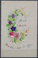 Superbe Image Amitié Sincère ( Fleurs ) Mon Coeur Vous Les Offre     3 Fleurs En Rajout Tissu - Zonder Classificatie