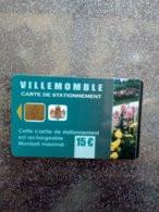 CARTE STATIONNEMENT  A PUCE CHIP CARD VILLEMONBLE 15€ NEUVE - PIAF Parking Cards
