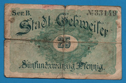 ALSACE Guebwiller, Gebweiler 25 Pfennig ND Ser.B  No 33149 BILLET DE NECESSITE FRANCAIS - Bonds & Basic Needs