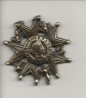 Médaille Genre Légion D'Honneur Non émaillé (République Française 1870) Devait être Fixée Sur Un Autre Support - Francia