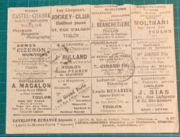 Var -TOULON - LAC - Enveloppe  Echange S 287- N°Y 138 Cad DAGUIN 1911 - 1877-1920: Semi-moderne Periode