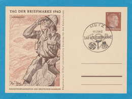 """TAG DER BRIEFMARKE 1942,KARTE MIT B.M. ÜBERDRUCK """"UKRAINE"""" UND STEMPEL """"METZ,TAG DER BRIEFMARKE"""". - Alsace-Lorraine"""