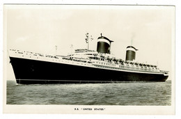 Ref 1412 -  Real Photo Maritime Postcard - S.S. United States Ship Liner - Dampfer