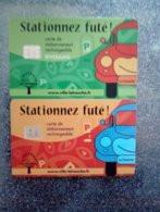 CARTE STATIONNEMENT CHIP CARD 2 CARTES DIFFERENTES LA TRONCHE NEUVE - PIAF Parking Cards