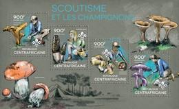 CENTRAFRICAINE 2014 SHEET SCOUTS SCOUTISME MUSHROOMS CHAMPIGNONS FUNGHI COGUMELOS PILZEN Ca14324a - Central African Republic