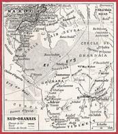 Sud Oranais. Oranie. Algérie. Carte Avec Chemin De Fer, Oued. Larousse 1906. - Documenti Storici