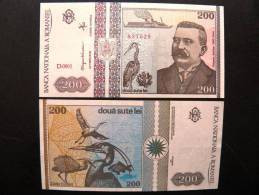 UNC Banknote From Romania #100 200 Lei 1992 Birds Oiseaux Fisf Ship Lighthouse Vladimirescu - Romania