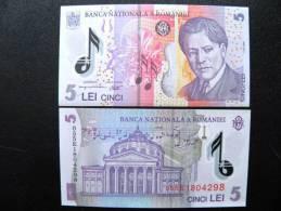 UNC Banknote From Romania #118 5 Leu 2005, Enescu Music Piano Athenaeum, Polymer Plastic - Romania