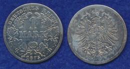 Deutsches Reich 1 Mark 1875D Kleiner Reichsadler Ag900 - 1 Mark
