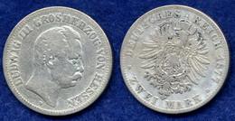 Hessen 2 Mark 1877 Ludwig III. Ag900 - [ 2] 1871-1918: Deutsches Kaiserreich