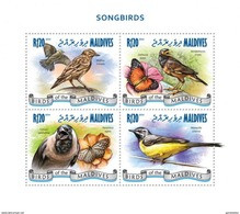 MALDIVES 2014 SHEET SONGBIRDS AVES OISEAUX PASSAROS UCCELLI BUTTERFLIES PAPILLONS SCHMETTERLINGEN INSECTS Mld14908a - Maldives (1965-...)