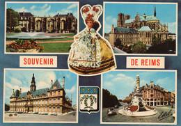 CPM - M - MARNE - SOUVENIR DE REIMS - PORTE MARS - CATHEDRALE - HOTEL DE VILLE - PLACE DROUET D'ERLON ET FONTAINE SUBE - Reims
