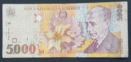 DH1003b - Romania 5000 Lei Banknote 1998 #005A 1049966 Damaged - Romania