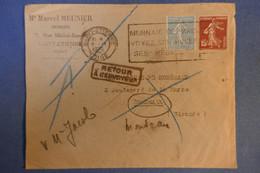 D3 FRANCE LETTRE 1938 SAINT ETIENNE POUR BORDEAUX +RETOUR A L ENVOYEUR + AFFRANCHISSEMENT INTERESSANT - France