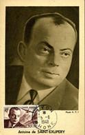 ANTOINE DE SAINT EXUPERy Cachet Ordinaire Lyon 5/6/1948 Carte édition Hébé - 1940-49