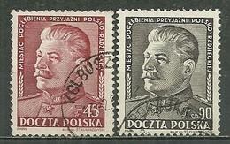 POLAND Oblitéré 621-622 Amitié Polono Soviétique STALINE - Gebraucht