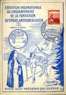 Aidez Les Tuberculeux Cachet Illustré Reims 13/11/1954 Carte Exposition Du Cinquentenaire De La Fondation - 1950-59