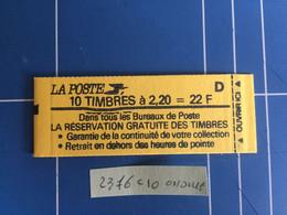 Carnet France 2376-C10 Variété Couverture Ondulée Neuf Et Fermé Très Rare A Saisir - Uso Corrente