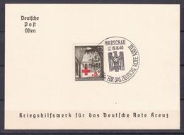 Generalgouvernement - 1940 - Michel Nr. 52 Gedenkblatt - WARSCHAU - Sonderstempel - Bezetting 1938-45