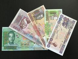 GUINEA SET 100 500 1000 5000 10000 FRANCS BANKNOTES 2006-2012 UNC - Guinea