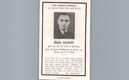En Souvenir D'Emile SCHOTT Né à Kirrberg 67 - Décédé à L'Hôpital De Campagne De Rozau Sur Narew Le 03/09/1944 - Devotion Images