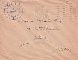 FRANCE 1941 LETTRE WW2 SANS TIMBRE + TAMPON A DATE BOULOGNE SUR MER + TAMPON MILITAIRE C.R.T. 6 Bis - Cartas