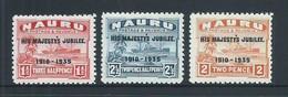 Nauru 1935 KGV Silver Jubilee Overprints Part Set Of 3 MNH - Nauru