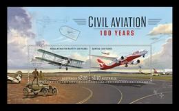 Australia 2020 Mih. 5196/97 (Bl.673) Civil Aviation. Qantas Dreamliner And G-AUAB Aircrafts MNH ** - Mint Stamps