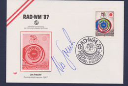 Austria Autogramcover 1987 World Championship Track Cycling - Autogram Urs Freuler World Champion Points Race - Ciclismo