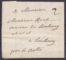 """L. Datée 11 Juin 1760 De LIEGE Pour Maieur De LIMBOURG """"par Le Battis"""" - Port """"2"""" (port 2 Sous Jusqu'à Battice - Achemin - 1714-1794 (Oesterreichische Niederlande)"""