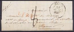 """LAC Càd NANCY /25 JUIL 1836 Pour Militaire De L'armée Belge à NAMUR - Griffe """"L.F.R.2"""" - Port """"8"""" (au Dos: Griffe Passag - 1830-1849 (Unabhängiges Belgien)"""