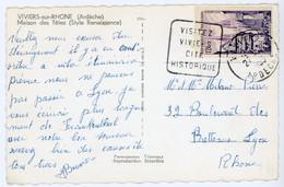 ARDECHE CP 1955 VIVIERS DAGUIN VISITEZ VIVIERS CITE HISTORIQUE - 1921-1960: Periodo Moderno